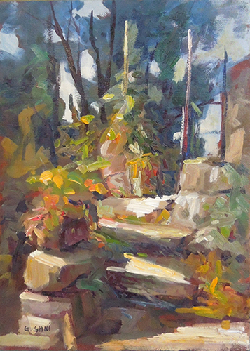 Art work by Giancarlo  Sani Le scalette dell'orto - oil table