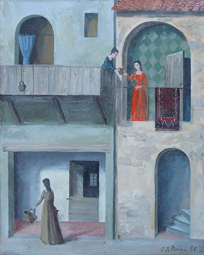 Art work by P. Perini Scene al balcone  - oil canvas