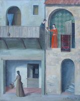 Quadro di P. Perini  Scene al balcone