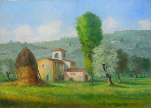 Quadro di Fausto Magni Fattoria toscana  - olio tela
