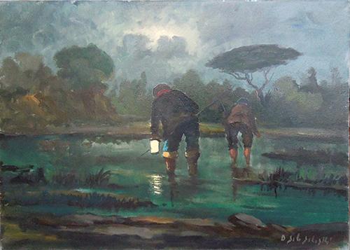 Quadro di Domenico Seloski Pescatori notturni - olio tela