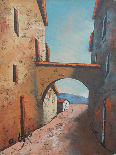 Art work by Augusto Ostigli Esterno con arco - oil canvas