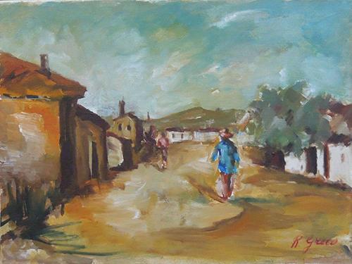 Quadro di Roberto Greco Paesaggio  - olio tela