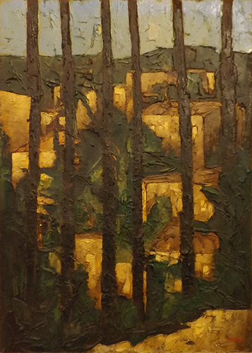 Quadro di Leonardo Papasogli Paesaggio attraverso il bosco - Pittori contemporanei galleria Firenze Art