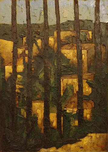 Art work by Leonardo Papasogli Paesaggio attraverso il bosco - oil hardboard