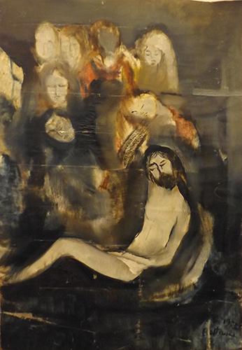 Quadro di Lido Bettarini Deposizione di Cristo  - olio tela