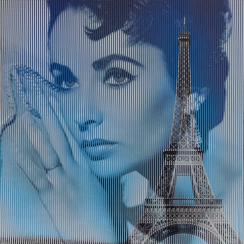 Quadro di Malipiero  ( Piero Maffessoli)  Osmosi - Liz Taylor - Torre Eiffel - collage carta