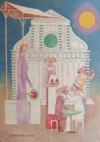 Work of Adorno Bonciani - Cocomero e marinaio oil cardboard