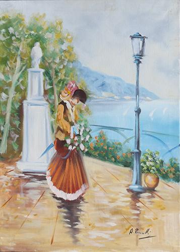 Quadro di Antonio Pecorelli  Paesaggio e figura  - olio tela