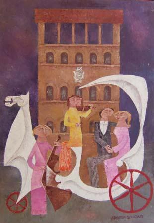 Artwork by Adorno Bonciani, oil on cardboard | Italian Painters FirenzeArt gallery italian painters