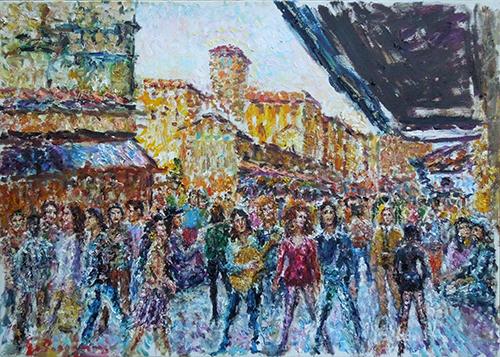 Quadro di Guido Borgianni Turisti sul Ponte Vecchio - olio tela