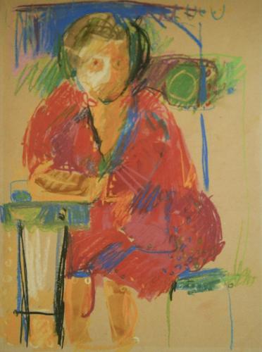 Quadro di  Anonimo Figura seduta al tavolo - tempera carta gialla
