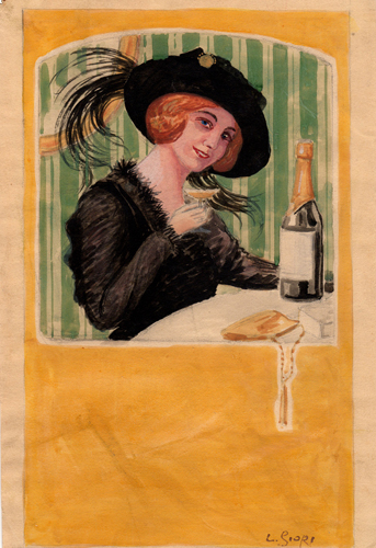 Art work by L. Giori Donna con bicchiere di champagne - watercolor paper