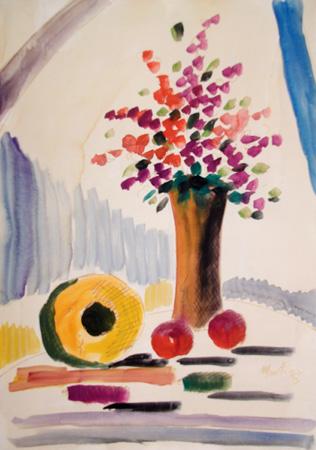 Quadro di  Martini Vaso di fiori - acquerello carta