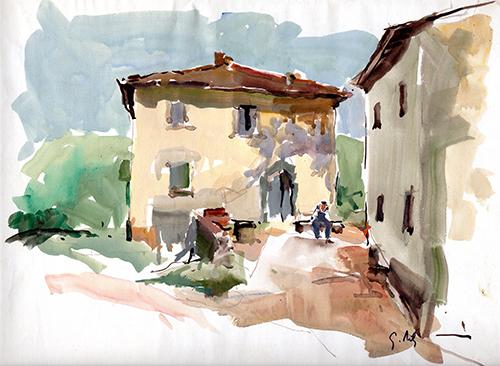 Quadro di Gino Tili Cortile di colonica  - acquerello carta