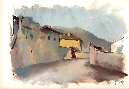 Quadro di Gino Tili Paesaggio desolato - acquerello carta