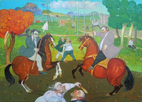 Quadro di Roberto Fontirossi Guerriglia contadina  - olio tavola