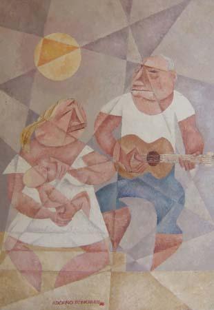 Quadro di Adorno Bonciani La Famiglia - olio cartone