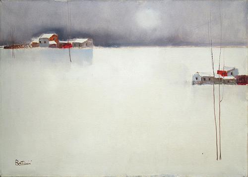 Quadro di Lido Bettarini Paesaggio con neve  - olio tela