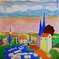 Quadro di Luca Albizi  Cipressi blu