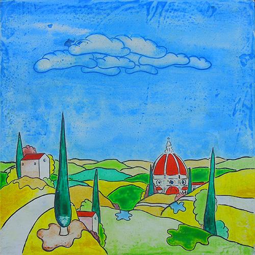 Quadro di Luca Albizi Paesaggio toscano - mista tavola