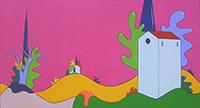 Quadro di Luca Albizi - Paesaggio con sfondo rosa olio tela
