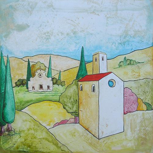 Quadro di Luca Albizi Santo Spirito naif - Pittori contemporanei galleria Firenze Art