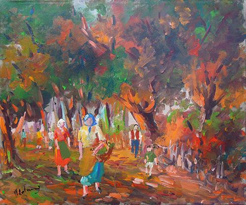 Art work by firma Illeggibile Il raccolto nel bosco - oil canvas