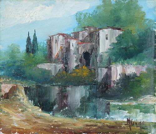 Quadro di  Aluigi Paesaggio riflesso - olio cartone telato