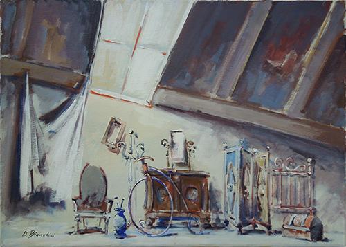 Quadro di Umberto Bianchini Soffitta  - olio tela