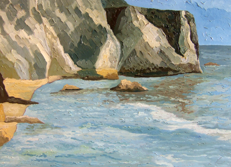 Art work by Carlo Testi Scogliera Azzurra - oil canvas