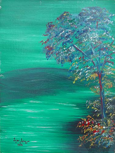 Art work by firma Illeggibile L'albero dei colori - oil canvas cardboard