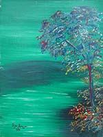 Quadro di firma Illeggibile - L'albero dei colori olio cartone telato