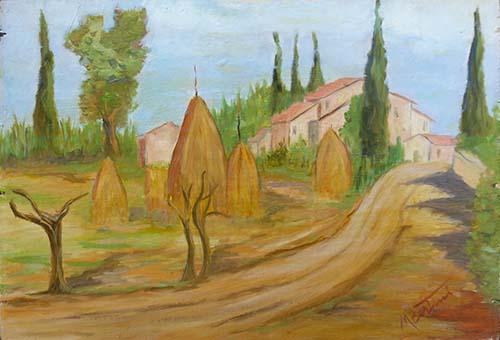 Art work by Mauro Bertini Paesaggio rurale - oil table