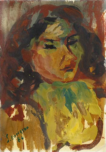 Art work by Silvio Loffredo Figura femminile  - oil canvas cardboard