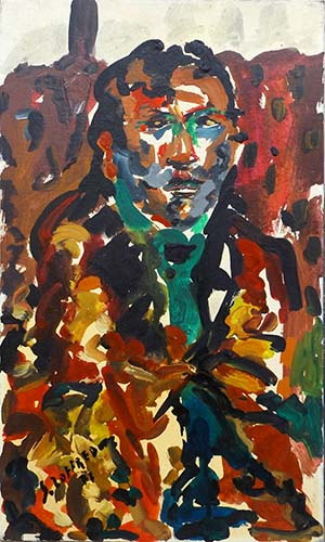 Art work by Silvio Loffredo Figura maschile - oil canvas cardboard