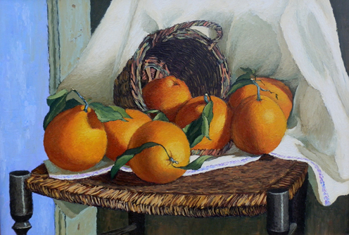 Quadro di A. Biglar Natura Morta con arancia