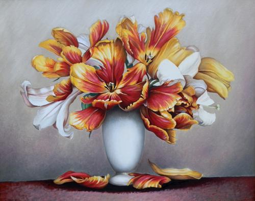 Quadro di A. Biglar Vaso con tulipani